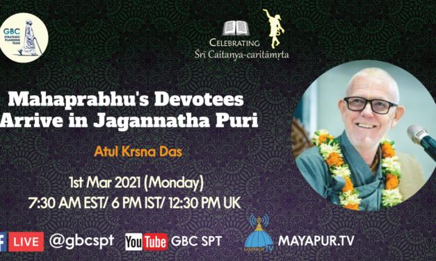 Mahaprabhu's Devotees Arrive in Jagannatha Puri
